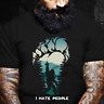 Camping Bigfoot Middle Finger Footprint I Hate People Unisex Gift T-Shirt