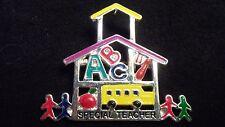 Special Needs Autism Teacher Brooch Pin Necklace Pendant Schoolhouse Colors 1.5
