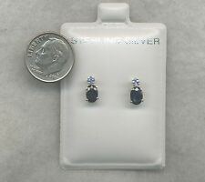 2 BLUE!  6x4mm Oval Natural Dk BLUE SAPPHIRE w/ Lt BLUE SAPPHIRE  Accts SS Posts