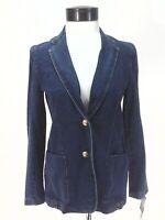 RALPH LAUREN Jeans Co Denim Blazer Jacket Blue Gold Crest Buttons Women's S New