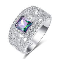 Cocktail Princess Cut Rainbow /& White Topaz Gemstone Silver Jewelry Ring Sz 6789