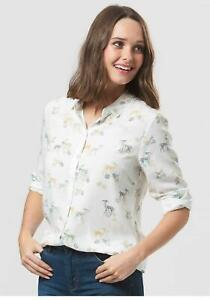 Sugarhill Boutique Erin Woodland Animals Shirt (White) Size 12 -Rare - RRP£45.00