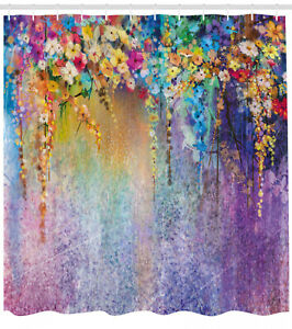 Floral Fabric Shower Curtain Blooming Flowers Print for Bathroom 70 Inches Long