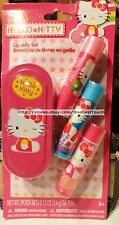 SANRIO 4pc HELLO KITTY Flavored Lip Balm Set w/Collectible Tin Strawberry+Cherry