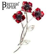 NEW LARGE RED ROSE GOLD POPPY ENAMEL CRYSTAL SILVER PIN BACK DIAMANTE BROOCH BOX