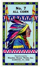 BROOM LABEL VINTAGE 1960S ORIGINAL NATIVE AMERICAN INDIAN CHIEF HAMBURG PENN NO7