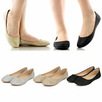 Women's Slip On Glitter Shimmer Round Toe Ballet Flats Ballerina Flat Shoes