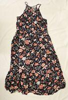 Old Navy Women's Waist-Defined Braided-Strap Maxi Dress AM1 Navy Floral Size XL