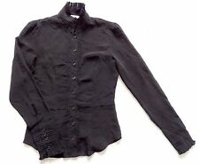 Women's Vintage 80's Black Blouse Retro Boho Goth 8