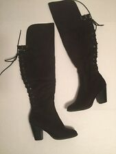 Soda Black Faux Suede Womens Lace Up Over The Knee Tall Boots Size 9