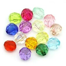 300 Faceted Acrylic Round 6mm Beads Mixed Colours J24721V