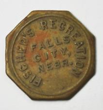 Fischer's Recreation Falls City Nebraska 10c Octagon Trade Token 23mm