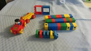 Vintage duplo Lego 1 racing car with driver 1 wagon plus blocks bricks