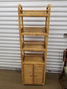 VTG 4 Tier Shelf Wicker Rattan  Unit Boho Chic Tiki Vanity Shelves Cabinet