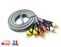 Câble Audio vidéo 3RCA à 3 RCA mâle à mâle plaqué or Cordon Caméscope  1.5M