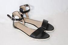 H by Halston Leather Ankle Strap Sandals - Violet 9 medium black