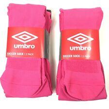 4 PACK Umbro Youth Soccer Socks Pink Shoe Size: 4-8 MEDIUM