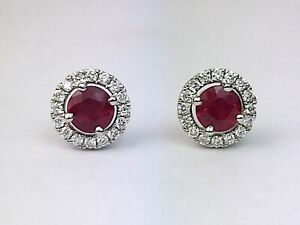 18K White Gold Natural Red Ruby Round Diamond Halo Stud Earrings 0.74 Ct