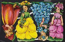 # GLANZBILDER  # EF 7112 , 4 große Blumenelfen wie EAS 50er Jahre