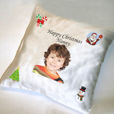 CHRISTMAS PERSONALISED SATIN CUSHION COVER- cover only approx 40cm
