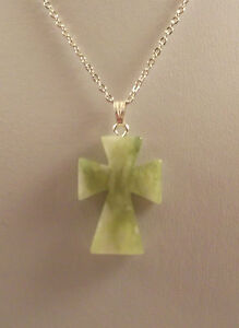 """Various semi precious gemstone cross pendants and 18"""" silver plated chains."""