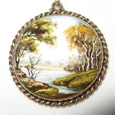 14K Gold Handpainted Signed Porcelain Pendant Necklace c1930 Serene Stream Asian