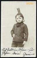sweet girl in strange hat, Vintage Photograph, 1909.