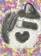 Sleeping kitten cat watercolor original painting