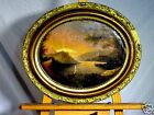 19th c Beautiful Tonalist Hudson River School Landscape Oval Framed Oil Painting