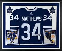 Auston Matthews Maple Leafs Deluxe Framed Signed Blue Adidas Authentic Jersey