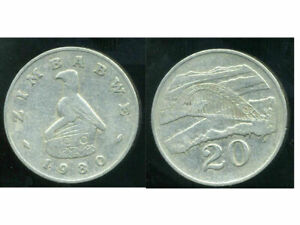 ZIMBABWE  20 cents 1980  ( etat )