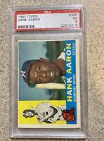 1960 Topps #300 Hank Aaron PSA 5 EX HOF Vintage Baseball Card Milwaukee Braves