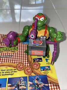 Vintage 1993 TMNT Pizza Tossin' Raph Figure COMPLETE with Cardboard Backing