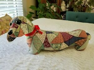 Vintage Handmade Stuffed Animal Patchwork Dachshund Wiener Dog 18""