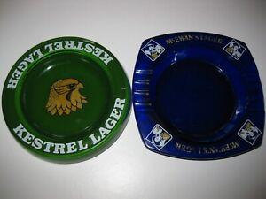 Kestrel and McEwens glass pub ashtray's