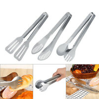 Handle Utensil Kitchen Cooking Salad Bread Serving BBQ Tongs Stainless Steel SS