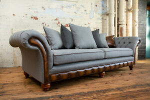 HANDMADE 4 SEATER GREY WOOL CHESTERFIELD SOFA, CUSHIONED SCATTER BACK