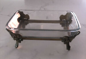 Vintage Jewellery Holder Dish Brass And Glass