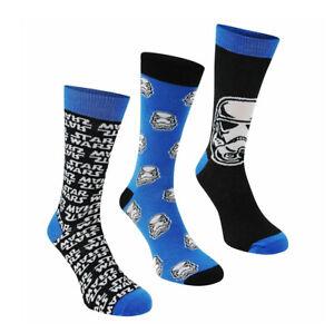 Mens Star Wars Character Novelty Mid Calf Polyester Crew Socks 3 Pairs UK 7-11