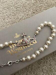 vivienne westwood pearl necklace silver