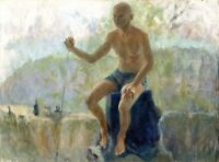 """Russischer Realist Expressionist Öl Leinwand """"Mann mit Stock"""" 80x60 cm"""