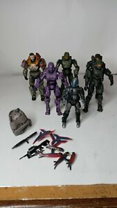 McFarlane Halo Reach Spartan Soldiers Master Chief Jorge Purple Weapons Lot of 6
