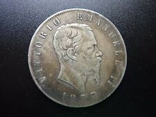 1877 ITALIA 5 LIRA SILVER MONETA
