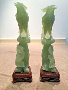 Paire de figurines Oiseaux de Paradis Jade ? Jadéite ? Sculptée sur socle bois