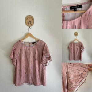 Basque pink print ruffle sleeve top Sz 18 as new