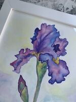 Iris watercolor original paiting. Botanical wall art. Botanical watercolor.