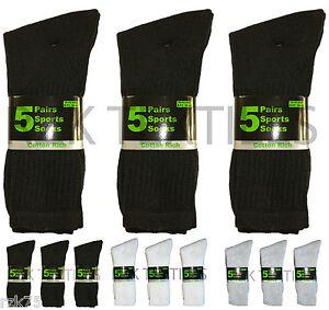 15 Pairs Of Men's Sport Socks, Black Cotton Rich Cushion Sole Socks, Size 6-11