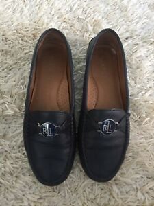 Ladies Ralph Lauren Blue Leather Shoes Size UK 4.5 With Box Loafers