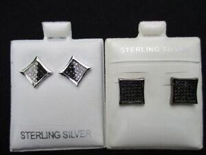 ZIRCONIA & BLACK ONYX Mens 925 STERLING threaded stud EARRINGS nwot