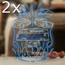 2x Stück Aircooled Family Pinstriping Sticker Aufkleber Pinstripe MOONEYES blau